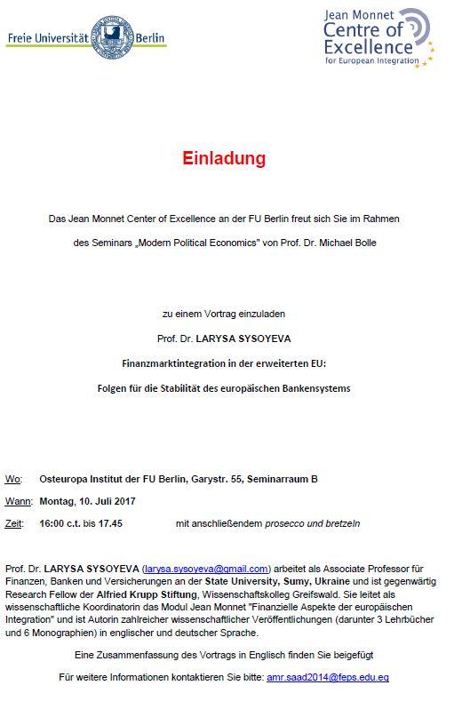 Einladung Finanzmarktintegration in der erweiterten EU:  Folgen für die Stabilität des europäischen Bankensystems